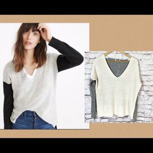 Madewell Women's Pullover V-Neck Sweater Dual Tone